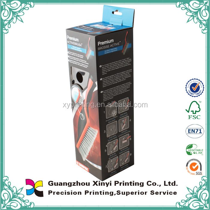 Recyclable full color retail hanging paper box customized pvc card packaging printed