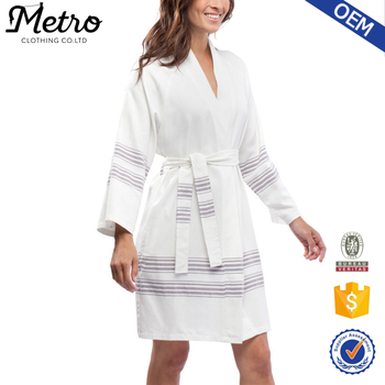 2016 latest design womens slim fit loose cotton Bamboo blend Robe