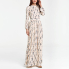 Printed gentle balloon sleeve maxi casual dress