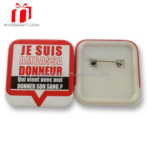 Wholesale Cheap Custom Printed 32mm Square Button Badge With Safety Clip From China Suppliers