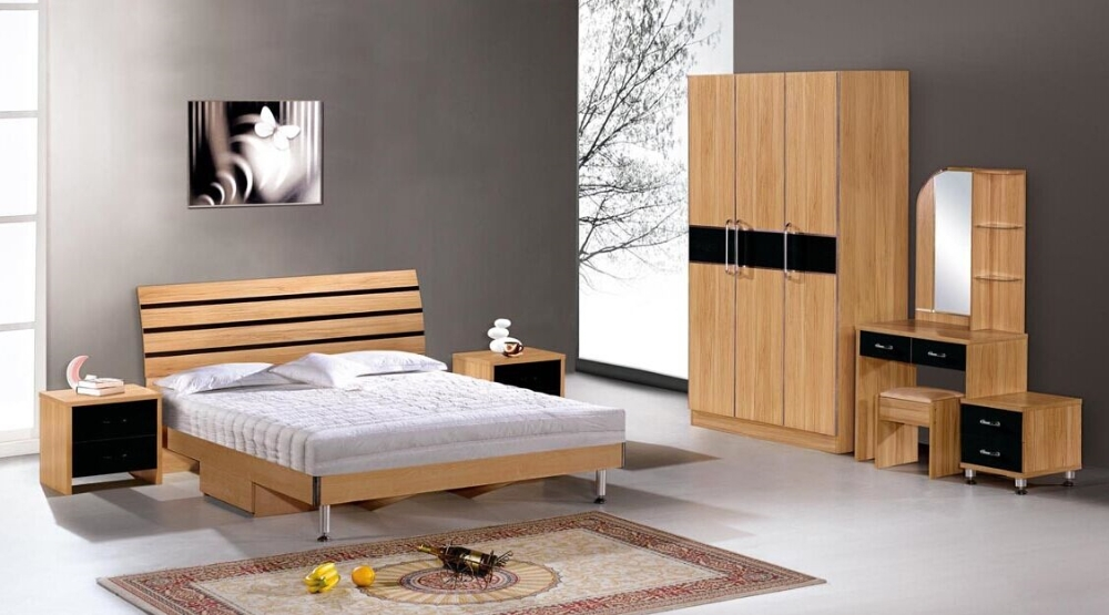 High Quality Cheap Hotel Furniture Wooden Bed Hotel Room