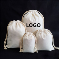 Custom printed logo solid color cloth cotton and linen drawstring canvas rice bag