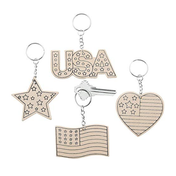 Children's Art Activities Color Your Own Patriotic Wood Keychains