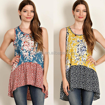 8fbce4072fcda1 2017 New Arrival Ladies Tunic Top Wholesale Floral Printed Woven Womens  Bulk Cotton Asymmetric Tunic Tops
