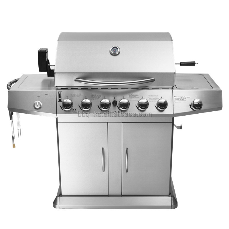 CE CERTIFICATION STAINLESS STEEL BEST 6 BURNER GAS BBQ GRILL WITH LAVA ROCK GRILLS AND ROTISSERIES AND MOTOR