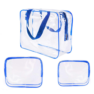 Waterproof beach swim pool transparent makeup packing organizer pvc bag set
