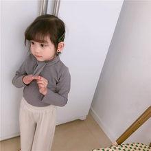 WLG/весенние повседневные футболки для девочек Однотонная футболка с бантом для маленьких девочек Детские универсальные топы, детская одежд...(Китай)