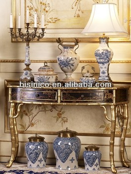 Elegant Antique Hand Painted Entry Hall Console Table, Traditional Hand Carved Console  Table, Home