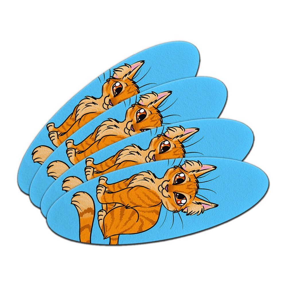 Tabby Cat Orange On Blue - Pet Double-Sided Oval Nail File Emery Board 4 Pack