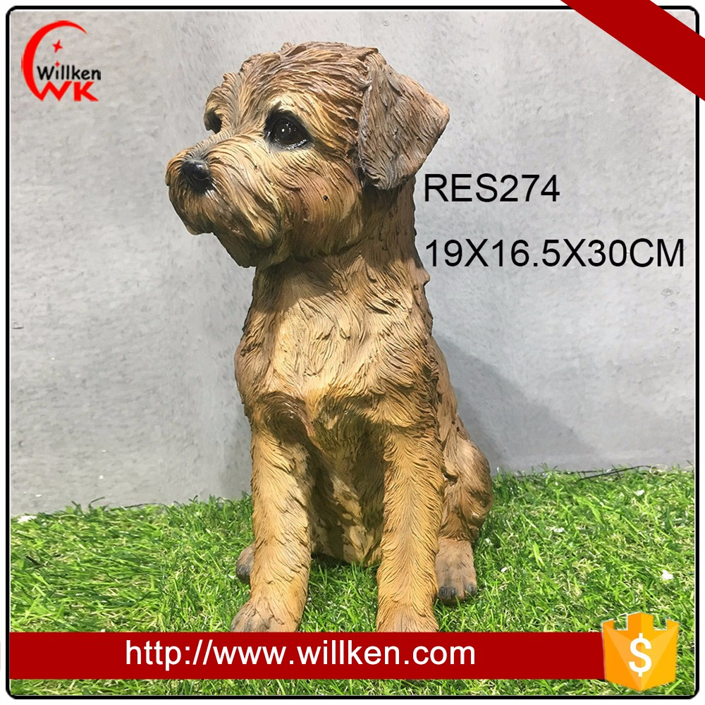 Lovely life size dog puppy figurine for home decoation