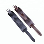 Wolf Bracelet Suppliers Punk Wolf Head Engraved Mens Wide Genuine Leather Homme Bracelet With Adjustable Belt Buckle