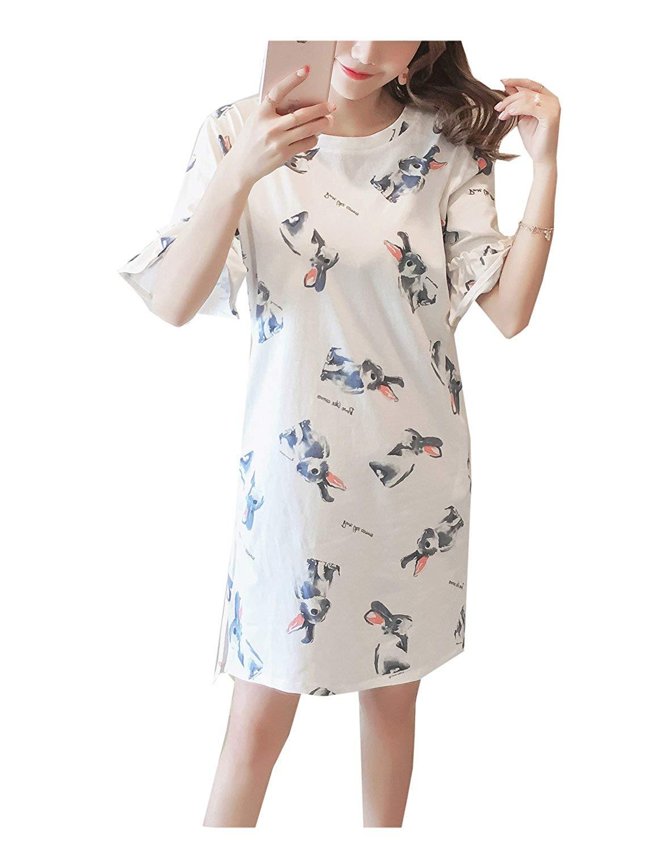Big Girls Lovely Rabbit Cartoon Dress Sleepwear Nightgowns