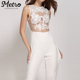 New Style Sexy White Embroidery Lace Splice Jumpsuits For Women
