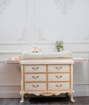European Style Baby Furniture Changing Bed Luxury And Antique Solid Wood Diaper Table