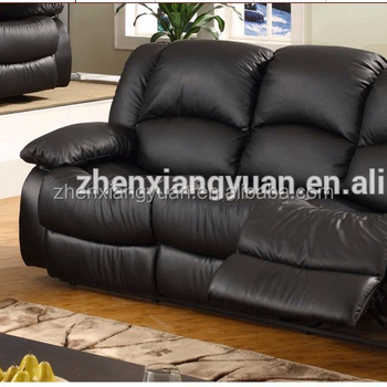 Black Leather Recliner Sofa 3 Seater