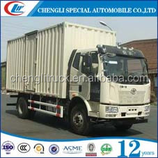 FAW 4*2 goods delivery wing van Truck with hydraulic tail lifting 6wheels diesel cargo box van transportation truck