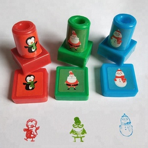 Christmas square kids rubber toy stamper Custom self inking stamps