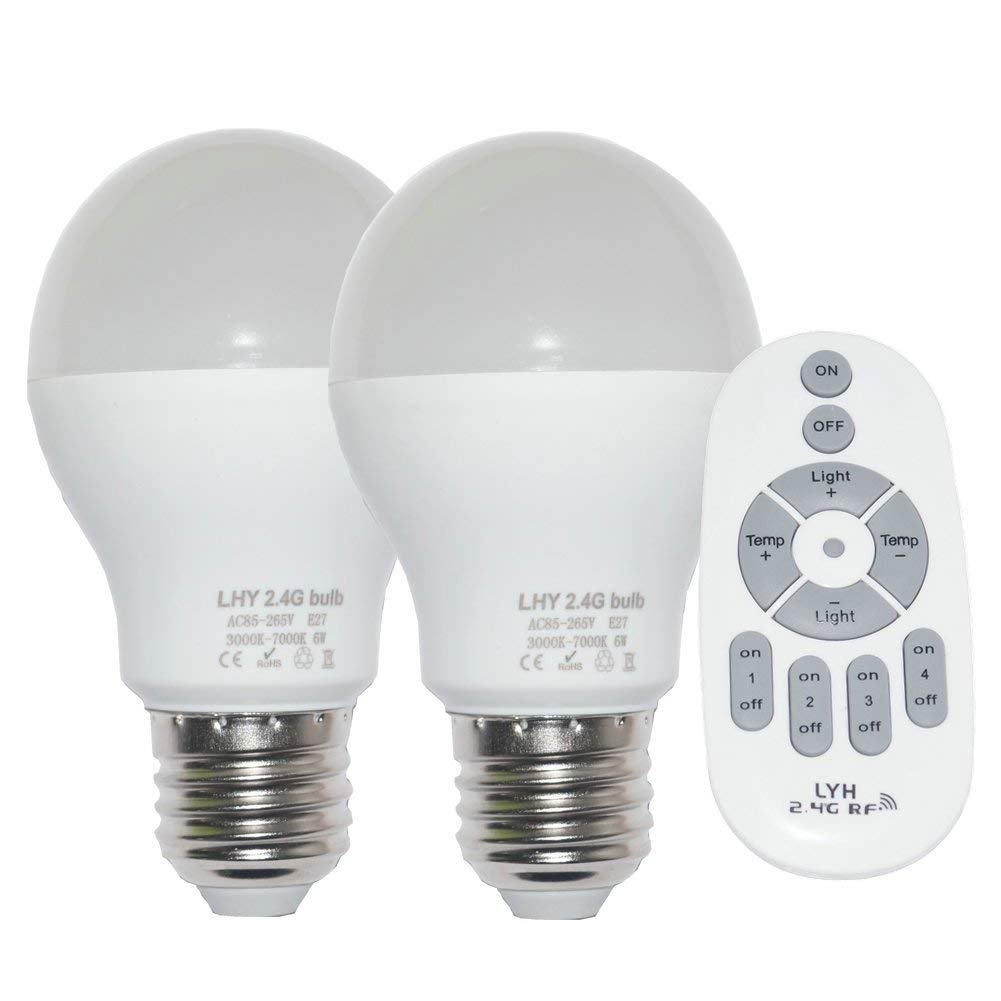 Fjiangyi 6W E27 Smart LED Light Bulbs Dimmable with 2.4GHz Wireless 4-Zone Remote Control - Adjustable Color Temperature (Warm/Cool) and Brightness 2 Pack (2 Bulb+1 Remote)