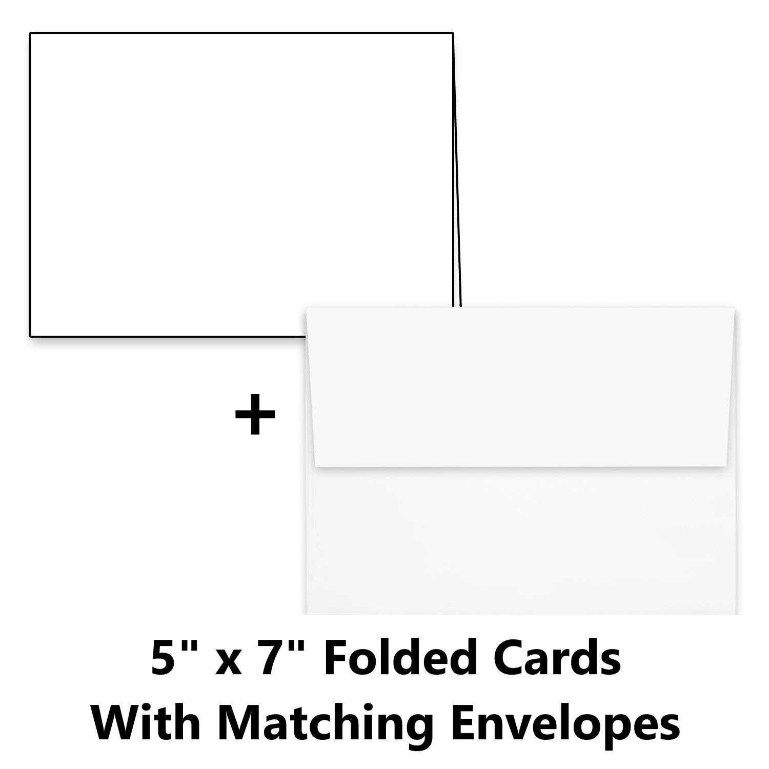 "Hamilco White Cardstock Thick Paper - 5 x 7"" Blank Folded Cards - Greeting Invitations Stationary - Heavy weight 80 lb Card Stock for Printer - 100 Pack (100 Pack - with Envelopes)"