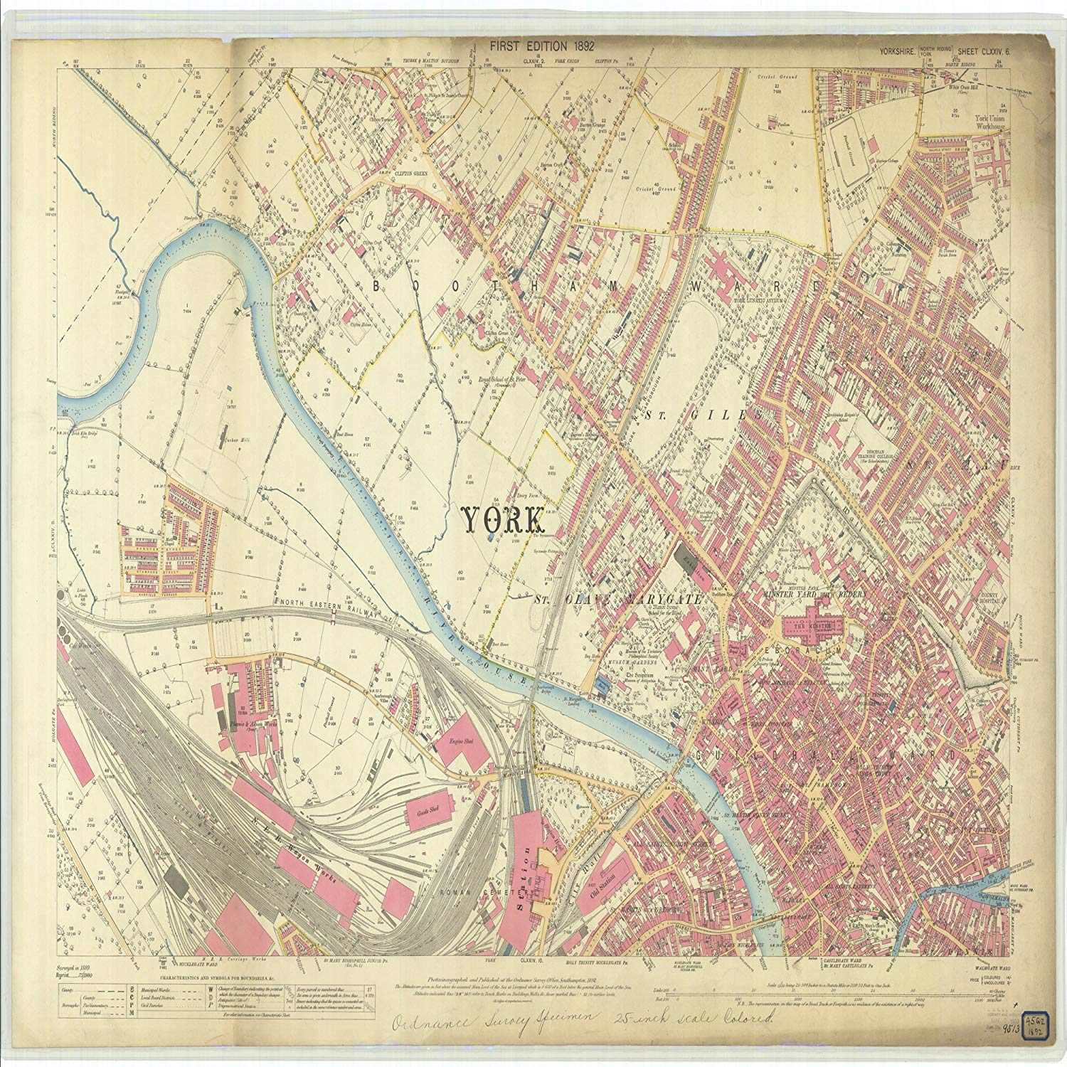 Vintography 24 x 36 Giclee Print Nautical Map Image Yorkshire 1892 NOAA 69a