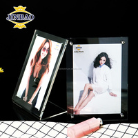 JINBAO 4R Acrylic Magnet Photo Frame Block, Crystal Clear Magnet Frame, 6x8 Clear Block Frames in Vertical and Horizontal design
