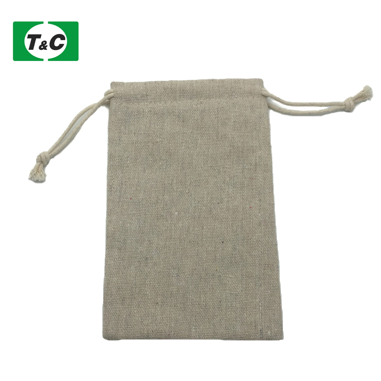 Customized Logo Printed Tea Strainer Linen Plan Bag Drawstring Linen Jewelry Bag Pouch