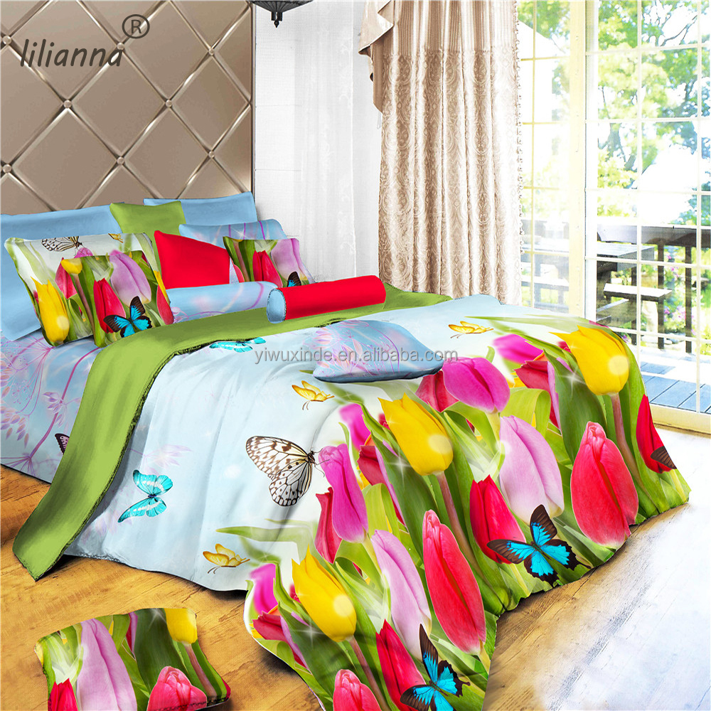 Colorful spring style new design 3d bedding sets flower and butterfly good quality bedding sets