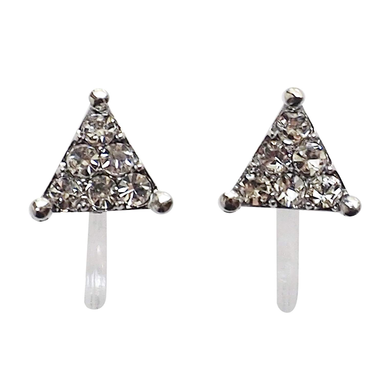 Miyabi Grace Women's Triangle Pave Small Rhinestone Crystal Invisible Clip On Stunning & Beautiful Stud Earrings Silver tone