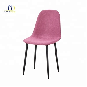 Newly Factory Cheap Modern Paint Wood Transfer leg Steel Iron Metal Fabric Dining Chair