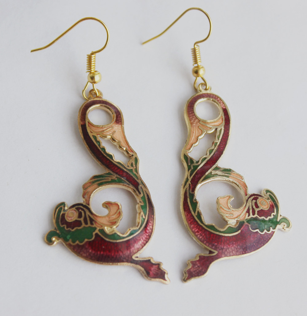 Popular Cloisonne Flowers Antique Stainless Steel top design Earring