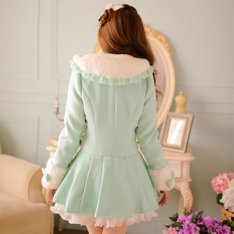 Принцесса сладкий лолита пальто конфеты дождь зима теплая японский стиль симпатичные волнистым краем получил - до фигура шерстяная ткань пальто WL172