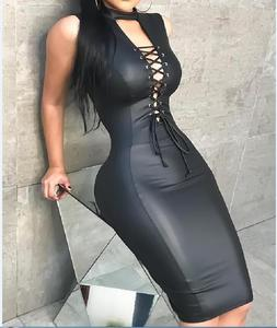 B34032A 2018 New fashion sleeveless V neck lace up PU leather bandage dress