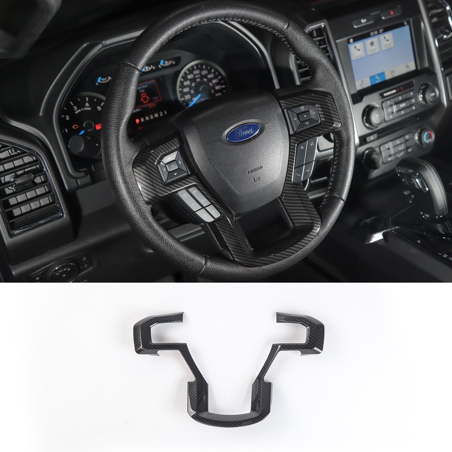 Voodonala Black Carbon Fiber Texture Steering Wheel Decorative Trim Car Steering Wheel Cover for 2015 2016 2017 Ford F150 F250 F350 Super Duty