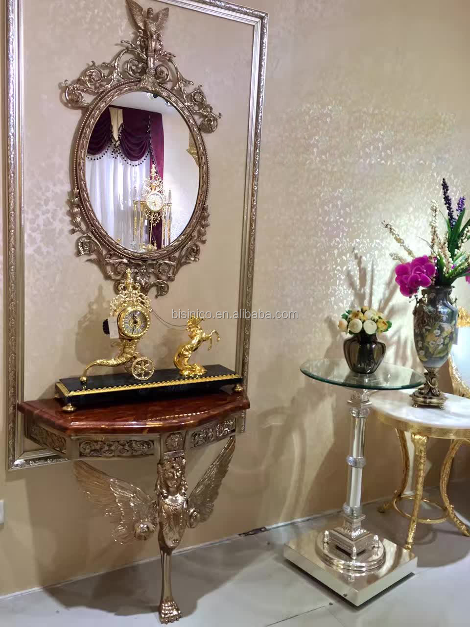 French Baroque Design Luxury Brass Gilded Console Table & Mirror ...
