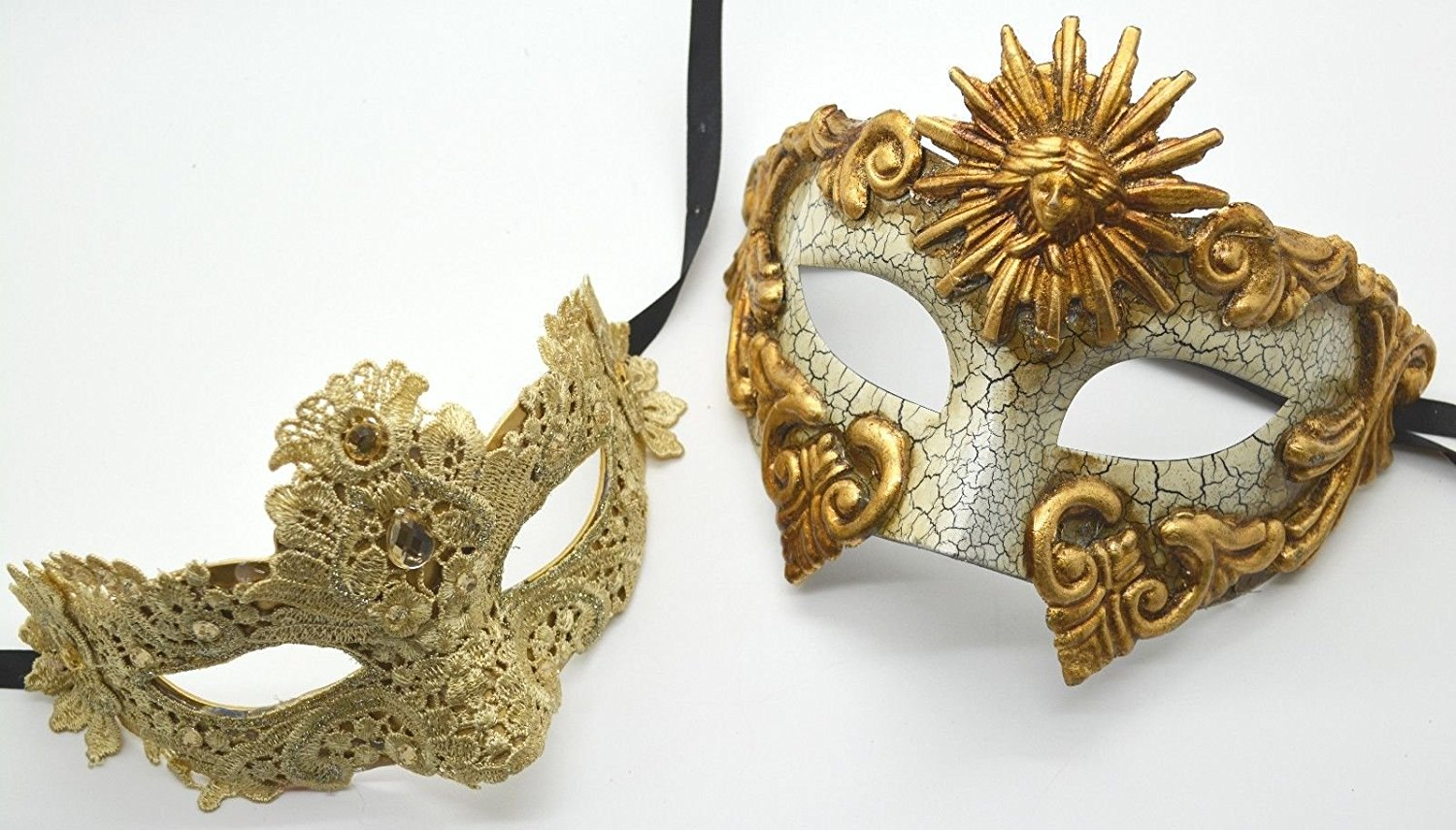 Roman Greek God Goddess Set - His & Hers Sexy Lace Masquerade Masks Antique Gold