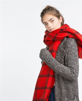 Classic style Black white and black red plaid womens checked red tartan scarf