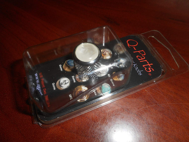 Q-Parts Mini Dome Knob, WHITE PEARL ON CHROME, KCMD-0249