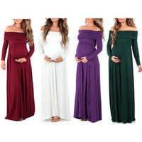 Maternity Maxi Dresses 2018 Maternity Photography Props Chiffon Vestidos Off Shoulders Maxi Pregnant Dress Pregnancy Photo Shoot