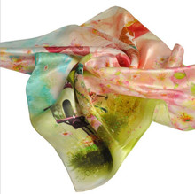 Chinese Style Women Custom Digital Printing Stain Floral Silk Scarf