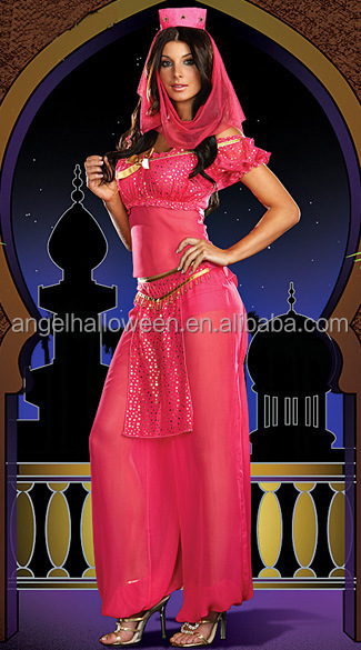 Jasmine Aladdin Princess Costume per adulti Fancy Dress Arabian Bollywood Belly Dance AGC146