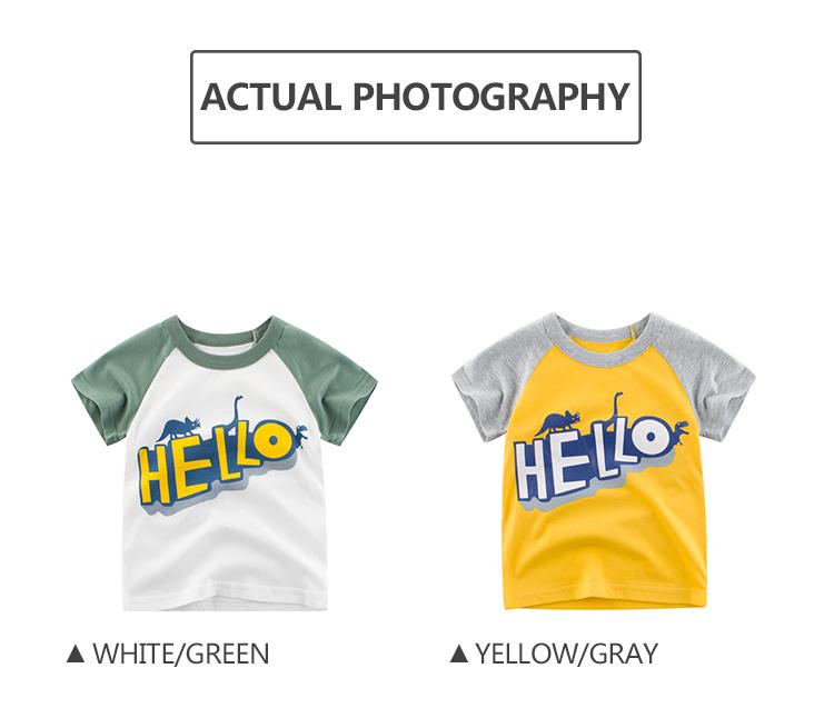 Dernière arrivée manches raglan bébé garçon t-shirts d'été avec Bonjour motif imprimé