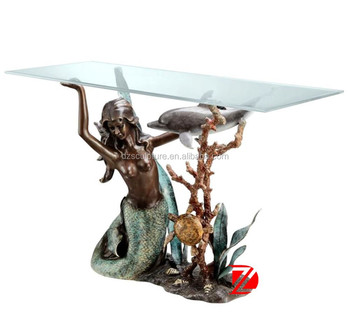 Bronze Decorative Furniture Unique Table Base With Mermaid Statue