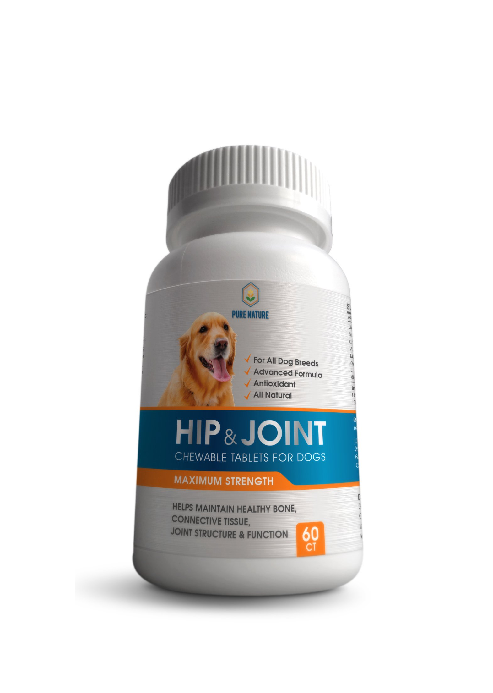 Advanced Hip & Joint Supplement for Dogs, All Natural Glucosamine Dog Joint Health, Chondroitin, MSM & CoQ10 For Healthy Hips & Joints, Senior Pets Joint Health Made in the USA
