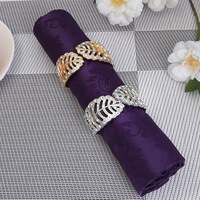 Wholesale Personality Metal Beaded Wedding Kitchen Hotel Large Leaf Napkin Ring