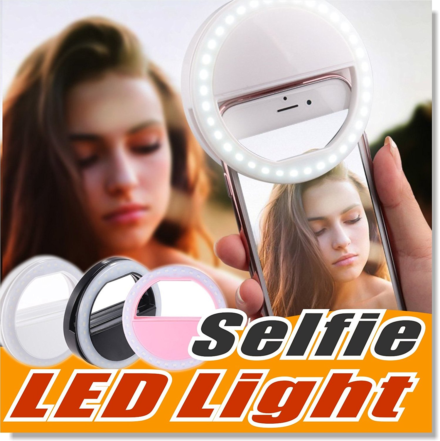 Selfie Light LED Ring Fill Light Supplementary Lighting Camera Photography for Samsung Galaxy S8 iPhone 7 6 6s LG Sony and All Smart Phones (Black)