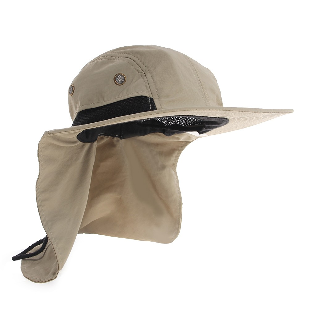 2016 New Boonie Fishing Boating Hiking Outdoor Snap Hat Brim Ear Neck Cover Sun Flap Cap Polyester Adjustable 55-63 cm 4 Colours