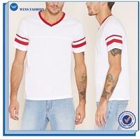 Wholesale Latest Shirt Designs For Men Varsity-Striped V-Neck Tee Shirt Design