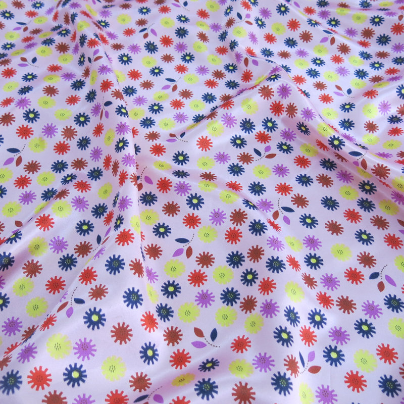 Colorful Satin Textiles For Kids Women Cloth Floral Printed Satin Fabric