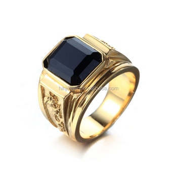 Fashion Black Diamond Stone Ring Single Stone Gold Ring Big Stone