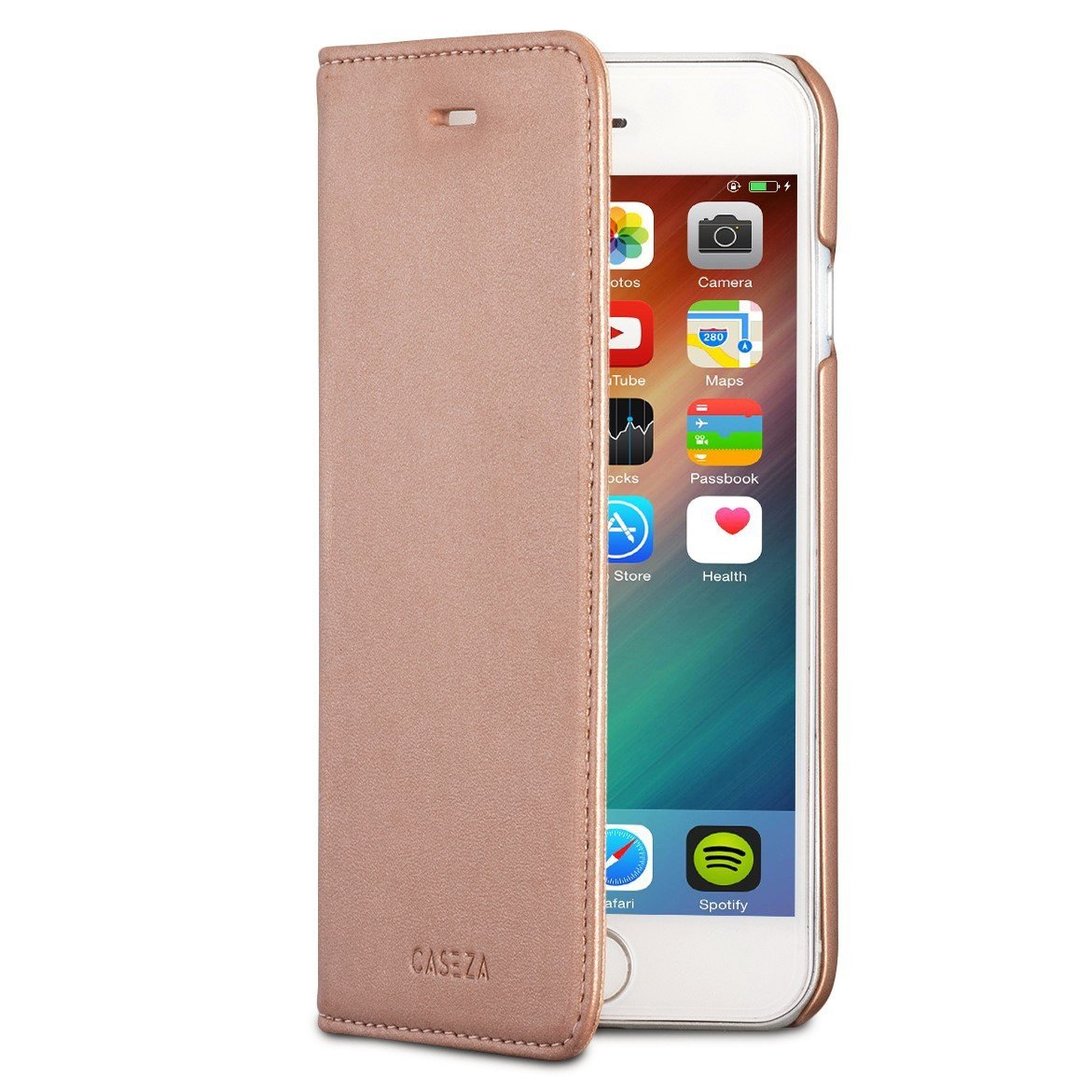 "CASEZA iPhone 7 PU Leather Flip Case ""Oslo"" Rose Gold - Premium Vegan Leather Wallet Book Folio Cover for the Original iPhone 7 (4.7 inch) - Ultra Thin with Magnetic Closure"